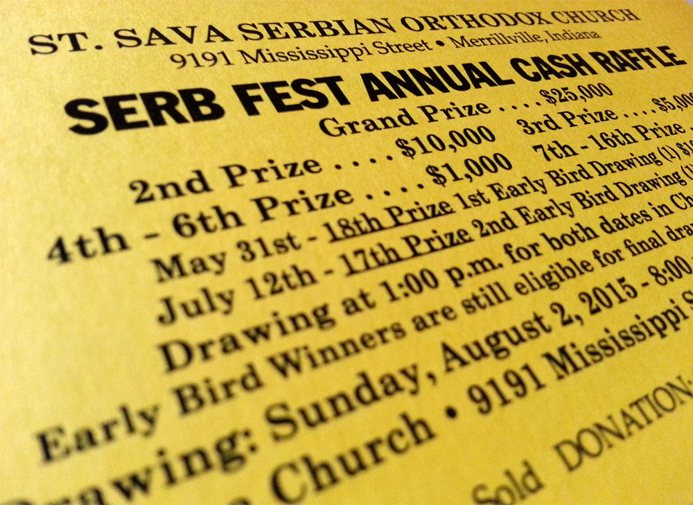 Serb Fest Cash Raffle Tickets Available, Limited Number Remaining