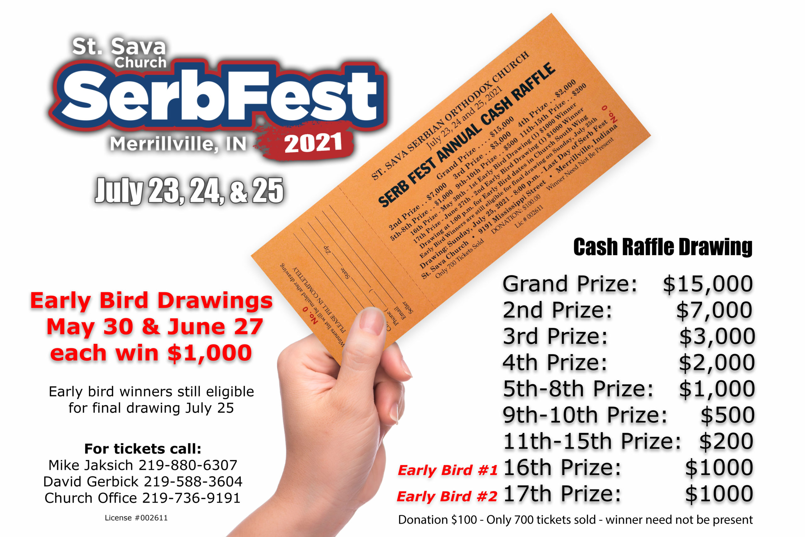 Serb Fest Annual Cash Raffle – Tickets Now Available at St. Sava, Merrillville, IN